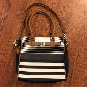 Marc Fisher Faux Leather Black & White Stripe Tote